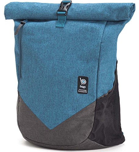 Bago Fashion Rolltop Backpack for Travel, Laptop & School - The Adventurer (Roller School)