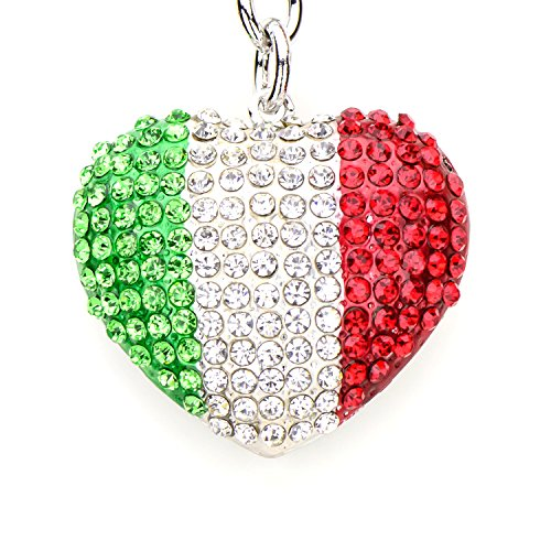 (Lilly Rocket Green White Red Mexico Italy Flag Design Heart Bling Swarovski Rhinestone Crystal Charm Pendant Purse Bag Key Ring Chain)