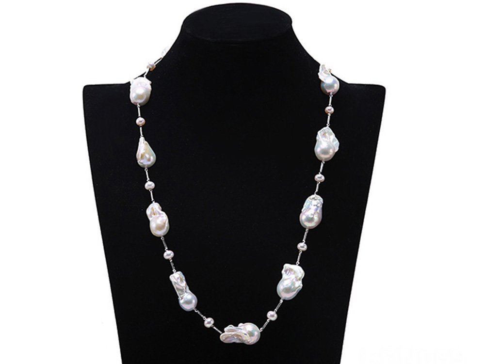 JYX AAA Sterling Silver White Baroque Pearl Necklace 25''