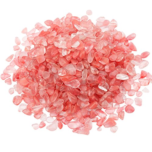 rockcloud 1 lb Cherry Quartz Small Tumbled Chips Crushed Stone Healing Reiki Crystal Jewelry Making Home Decoration