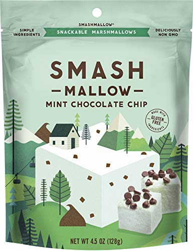 Mint Chocolate Chip by SMASHMALLOW   Snackable Marshmallows   Non-GMO   Organic Cane Sugar   80 calories   (4.5 ounce) (Average Calories In A Chocolate Chip Cookie)