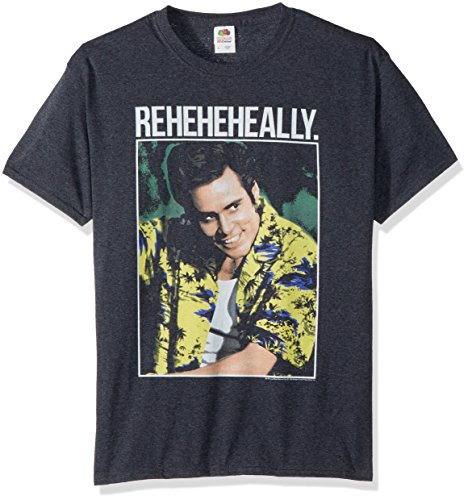 Ace Short Sleeve T-shirt - American Classics Unisex Ace Ventura Reheheheally Adult Short Sleeve T-Shirt, Black Heather, Medium