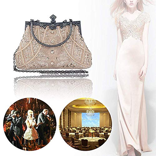 Wedding Elegant Handmade Evening Clutch Purse Party Style Handbag Sequined Beaded Vintage and Superw Yellow Women's Bag qxwz1fCCWp