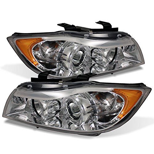 For BMW E90 3-Series 4 Doors Sedan Chrome Clear Halogen Type Halo Ring LED Eye Lid Projector Headlights