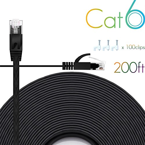 - Ethernet Cable Cat6 200 Ft Flat with Cable Clips, comtelek cat 6 Ethernet Rj45 Patch Cable, Slim Network Cable, Thin Internet Computer Cable - 200 Feet Black(60 Meters)