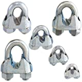 Non-Rust Zinc-Galvanized Steel Malleable Wire Rope Cable Clip Clamp - Choose from 6 Sizes