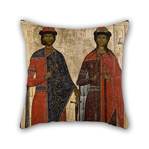 Alphadecor Oil Painting Unknow - St Boris And St Gleb Pillowcase 20 X 20 Inches / 50 By 50 Cm For Bedroom,car Seat,bf,dance Room,birthday,indoor With Two (Greek National Costume Pictures)