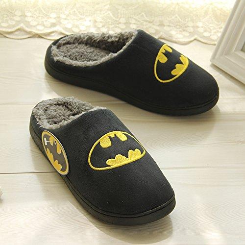 Azmodo Winter Warm Mannen Vrouwen Indoor Schoen Koppels Liefhebbers Huis Batman Pantoffels Zwarte Kleur