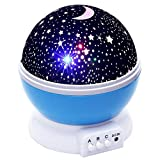 Luminary Baby Night Light Moon Star Projector 360 Degree Rotation - 4 LED Bulbs 9 Light Colour Changing With USB Cable (Blue)