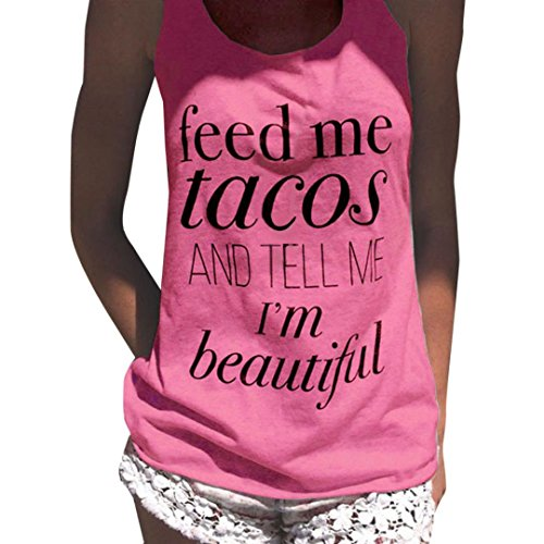 Haoricu_ Women Tank Tops, Feed Me Tacos Fashion Womens Letter Print Crop Vest Tops Sexy Sleeveles Blouse T-Shirt (S, Pink) -