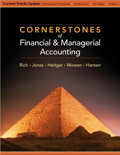 Cornerstones of Financial and Managerial Accounting (text only) 1st (First) edition by J. Jones,M. Mowen J. Rich