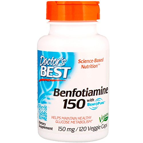 Doctor's Best BenFotiamine with BenfoPure, Non-GMO, Gluten Free, Vegan, Helps Maintain Blood Sugar Levels, 150 mg, 120 Veggie Caps