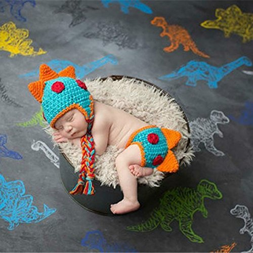 A-cool Crocheted Baby Boy Dinosaur Outfit Newborn Photography Props Handmade Knitted Photo Prop Infant accessories