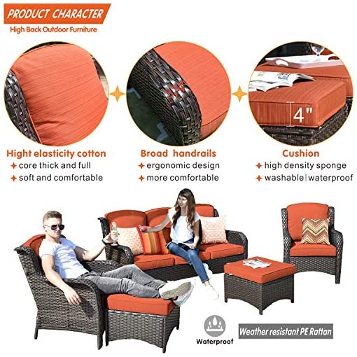 Garden and Outdoor Allwex Patio Furniture,Outdoor Furniture Set,Outdoor Rattan Furniture(Brown, Red) patio furniture sets