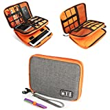 #6: Zonama Electronics Travel Organizer, Double Layer Electronics Organizer Travel Cord Organizer Cable Storage Gadget Bag for iPad,USB Cable, Charger,Cellphone, Cable Ties Included, Gray and Orange