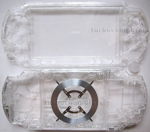 (Transparent Crystal Clear PSP 2000 Series Full Shell Cover Housing Replacement with Button Set)
