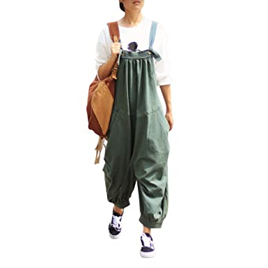 b64062d5131 Amazon.com  KEWLKATS Womens Loose Casual Cotton Jumpsuits Overalls Harem  Pants With Pockets  Clothing