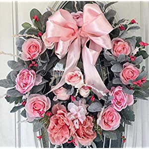 Pink Rose White Grapevine Wreath, Summer Wreath, Front Door Wreath, Wreath for Front Door, Indoor Outdoor Wreath, Wreath with Satin Bow, Free Shipping 107