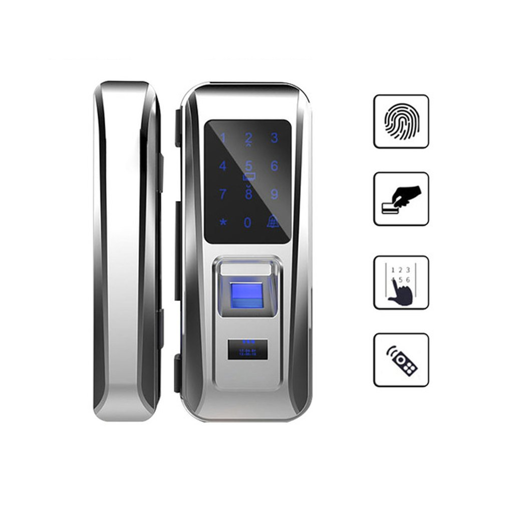 AO Glass Door Lock Office Keyless Smart Fingerprint Lock Touch Keypad Smart Card Remote Control Intelligent Door Lock (Color : Silver)