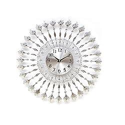 WEEDAY Luxury Artificial Crystal Diamond Large Wall Clock Metal Living Room Wall Clock -by TIANTA