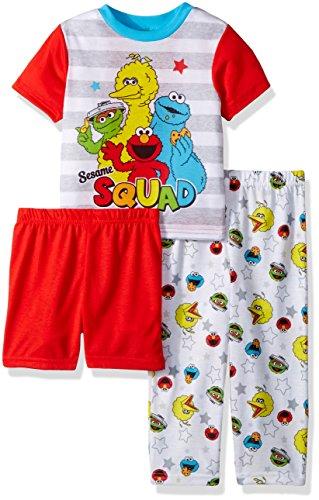(Sesame Street Boys' Elmo 3-Piece Pajama Set, White, 3T)