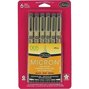 Sakura 50034 6-Piece Pigma Micron-005 Ink Pen Set, 0.20mm, Black