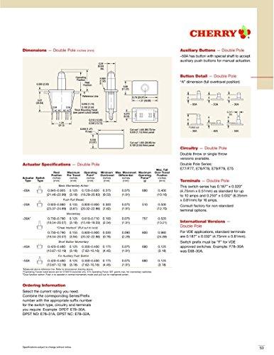 CHERRY パネルマウント型 プッシュスイッチ 125VAC 0.1A Eシリーズ E78-30A