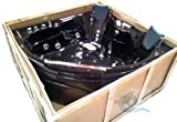 2 Person Black Massage Whirlpool Corner Bathtub Tub, with Shower Wand, Inline Water Heater, and Bluetooth Ready