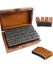 70 قطعة من طوابع الأبجدية المطاطية، أختام حروف حروف الأبجدية من الخشب مع صندوق تخزين خشبي لسجل القصاصات بنفسك، وبطاقة الهدايا والحرف اليدوية