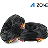 A-ZONE 100ft Coaxial RG58 Cable Wire for CCTV Home Security Camera System - Combo Video & Power Cable, Pack of 2