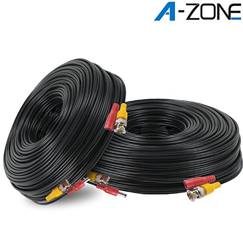 A-ZONE 100ft Coaxial RG58 Cable Wire for CCTV Home Security Camera System - Combo Video & Power Cable, Pack of 2 Combo Digital Video
