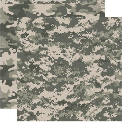 Reminisce Army Camo Camouflaged 12x12 Scrapbooking Paper - 5 Sheets