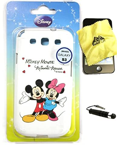 Bukit Cell ® Samsung Galaxy S3 III i9300 DISNEY Bundle - 3 Items: Licensed Original DISNEY Mickey Minnie Dancing TPU SKIN Protector Case Cover, Bukit Cell ® Cleaning Cloth and Metallic Stylus Touch Pen with Anti Dust (S3 Cases Mickey Mouse)