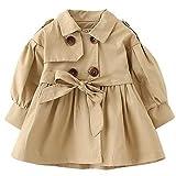 Little Girls Autumn Cotton Long Sleeve Solid Fleece Sweatshirt Double Button V Collar Jacket Outwear 1-2 Years Old Khaki