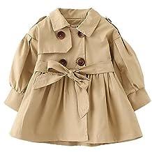 Baby Girls Stylish Fall Winter Windbreak Cotton Outerwear Wind Coat Long Sleeve Pull on Clothes 3-4 Years Old Khaki
