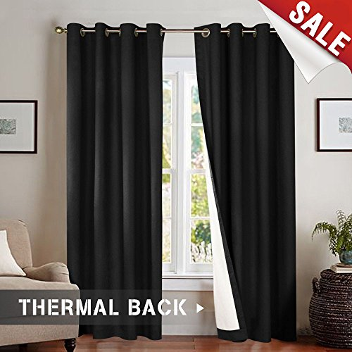 Blackout Thermal Backed Curtains for Living Room, Lined Bedroom Drapes 95 Inches Long, Black, Grommet Top, 2 Panels