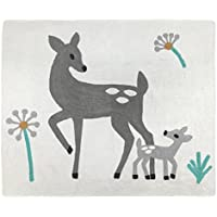 Sweet JoJo Designs Accent Floor Rug for Grey Forest Deer and Dandelion Collection by