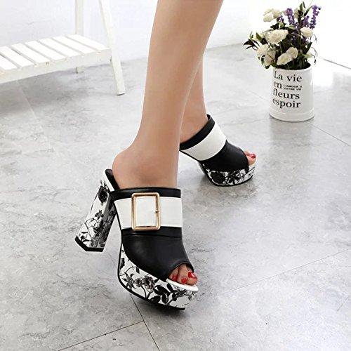 Wedge Slide Bottom Heels Slip Sandals Beach No Thick High Summer Slippers Platform JULY T Black Women xqgUCv