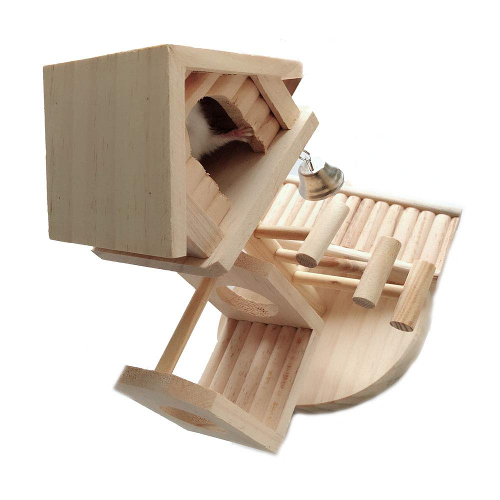 Dwarf Hamster House Durable Odorless Non-Toxic Deluxe Two Layers Wooden Hut for Hamster Toys Hamster House Natural Living Wooden Castle, Small Animal Playground Chew Toy (1castle Set) by Hamiledyi (Image #4)