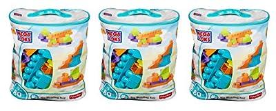Mega Bloks MMKfYW 80 Piece Big Building Bag, Classic, Light Blue, 3 Units