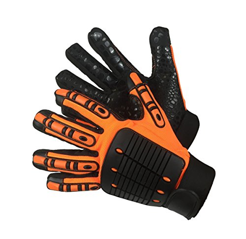 MECHANIC GLOVES ANTI-VIB BLACK/ORANGE by Elisanliving (Image #3)