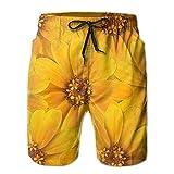 XCTP Yellow Flowers Hawaiian Beach Short Shorts Quick Dry Climbing
