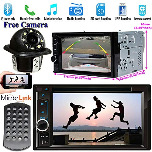 for Chevrolet Equinox 2007-2009 Car Double Din Stereo CD/DVD/MP3 Video Player 1080P Touch-Screen, Support Bluetooth AM/FM Radio Mirror-Link Rearview Camera(with LED Light)