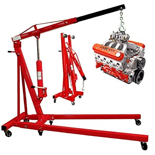 PROGEN TOP QUALITY HYDRAULIC 1 TON TONNE FOLDING ENGINE CRANE STAND HOIST LIFT JACK WITH WHEELS