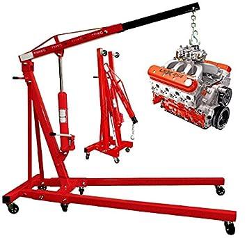 PROGEN grúa plegable para motor (1 toneladas hidráulico de alta calidad soporte de elevación lift Jack con ruedas: Amazon.es: Coche y moto