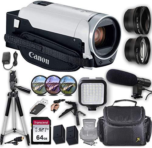 Canon VIXIA HF R800 Camcorder (White) + Professional Video Accessory Bundle