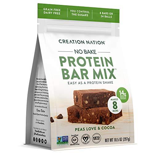 "Creation Nation - PROTEIN BAR MIX - No Bake & Easy as a Protein Shake! - Makes 8 Bars - ""Peas Love & Cocoa"" - 12-14g Protein/Bar - Vegan, Grain -"