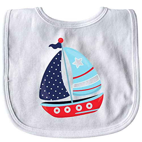 - Inktastic - Sailboat, Sailing Boat, Sails - Red Blue Baby Bib White 35a50