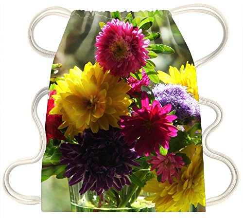 iRocket - A bouquet of asters - Drawstring Backpack Sack Bag (Aster Bouquet)