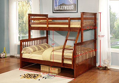 Kings Brand Furniture - Amell Wood Twin Over Full Size Convertible Bunk Bed, Walnut